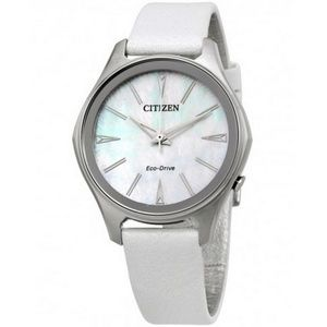 EM0598-01D Women's White Leather Band Watch